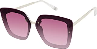 Vince Camuto 女式 VC872 超大几何猫眼太阳镜,带金属镜腿,标志徽章和* 紫外线防护,70 毫米