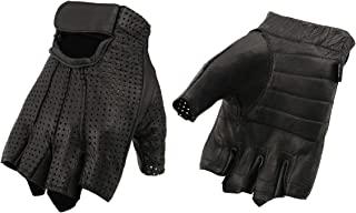 M Boss 摩托车服装 BOS37564 男式黑色穿孔皮革凝胶手掌无指手套