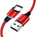 USB C 型线缆 LED 照明,Baseus USB C 充电器3A 快速充电同步线,尼龙编织 USB-A 到 USB…