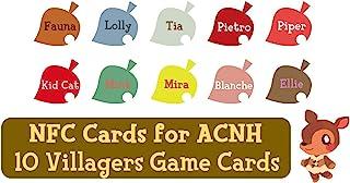 NFC 标签游戏卡适用于 ACNH Switch/Switch Lite/Wii U - Fauna, Lolly, Tia, Pietro, Piper, Kid Cat, Mint, Mira, Blanche 和 Ellie