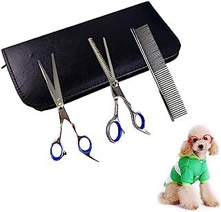 XIANXUN 专业狗狗*剪刀套装,6 英寸(约 15.2 厘米)宠物*梳子纤薄剪刀(四件套)