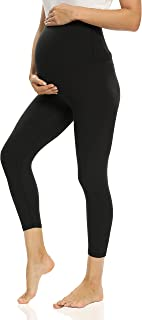 V VOCNI 孕妇打底裤,适合孕妇、锻炼、瑜伽裤、运动服、弹力打底裤, F-Capri 黑色, Small