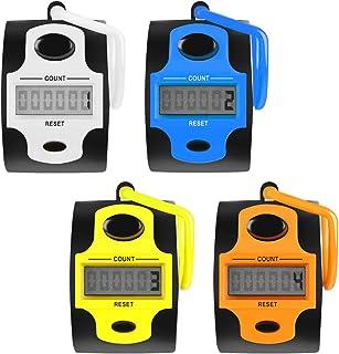 AFUNTA 4 件电子计数器 - 5 位数计数 LED 屏幕,机械手动点击数字圈追踪计数器计数器带指环支架 - 4 种颜色