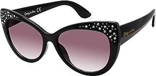 Circus by Sam Edelman Cc445 独特防紫外线猫眼水晶太阳镜   全年可穿   时尚礼品,黑色,55 毫米