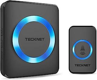 无线门铃,TeckNet 插入式无绳门铃套件,1000 英尺范围,52 个铃声,4 级音量,接收器无需电池 黑色 71000