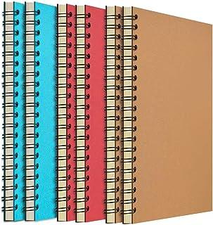 Zealor 6 件装软封面笔记本 带衬纸 8.3 英寸 x 5.5 英寸(约 21.1 厘米 x 14.0 厘米),螺旋笔记本 - 120 页,60 张 - 办公学校旅行备忘录记事本(牛皮,红色,天蓝色)