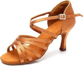 "RoseMoli 女式拉丁舞鞋缎面专业交际舞厅萨尔萨练习表演舞鞋 棕褐色-2.8"" 鞋跟 7.5"