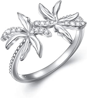 女士椰子树戒指 S925 纯银可调节开口戒指