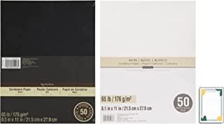 Recollections 卡片纸,8.5 X 11,65 磅,配有 4 x 6 内衬记事本   共 100 张,3 件物品(黑色和白色)