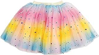 女婴彩虹短裙,幼儿4层薄纱亮片星星生日礼服裙,婴儿女孩蓬裙