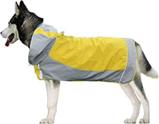 狗狗雨衣带反光条,雨披夹克适用于中型至大型犬,防水宠物连帽衫,适合雨天,可调节狗狗防水连帽衣