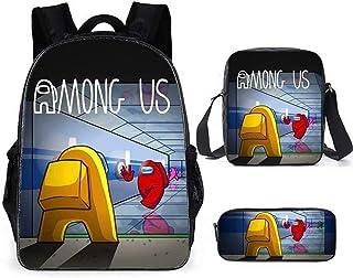 Among Us 青少年书包背包休闲单肩包带隔热午餐盒铅笔盒男孩女孩 3 件套 Style07 One Size