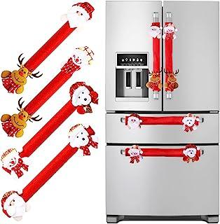 红色冰箱门把手套 4 件套,让您的厨房设备清洁,防止污迹、指尖、滴漏、食物污渍,非常适合微波炉洗碗机圣诞装饰
