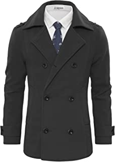 TAM Ware 男士时尚羊毛混纺双排扣粗呢大衣