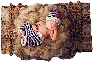 新生儿婴儿照片道具套装钩针编织水手*蓝条纹锚帽短裤套装男孩女孩摄影拍摄