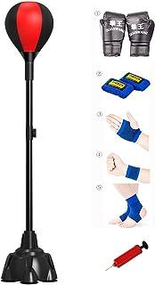 SFEEXUN 带支架的拳击包,适合儿童成人的独立式打击球,带吸盘高度可调节,拳击速度袋适用于 MMA 训练反射训练压力缓解和健身