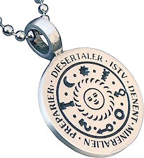 Germanic Magic Jewelry 护身符太阳和 7 星球为佩戴者带来*财富幸福的爱 锡合金男士吊坠项链 幸运护身符 男士银球链