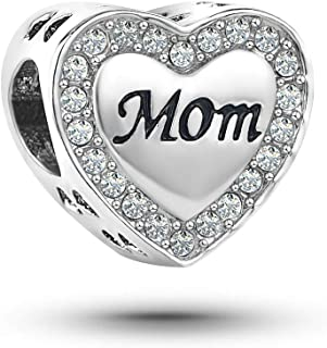 KunBead 玫瑰金 I Love You Mother Mom Heart Love 吊坠串珠手链和项链