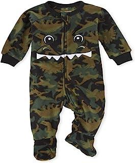 The Children's Place 男孩中性款婴儿和幼儿配对家庭恐龙羊毛连体睡衣