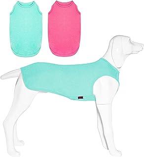 Kickred 2 件装夏季狗狗衬衫,速干透气狗狗衣服宠物无袖背心,轻质弹性背心 T 恤适合中型犬男孩女孩, L 码
