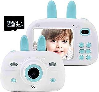 Gmlmes 儿童摄像机数码兔子相机适合男孩幼儿 3-10 岁生日礼物 1080P 高清防震可充电视频录像机带 2.4 英寸 IPS 屏幕(蓝色)