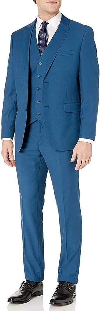 Adam Baker 男式 3 件套单排扣修身西装和燕尾服 - 颜色 电蓝色 38 Regular