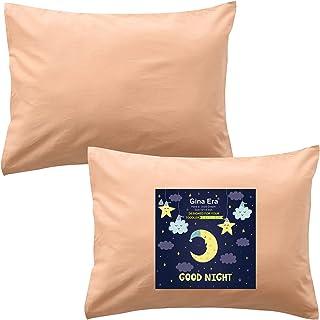Gina Era 幼儿枕套,(2 件装) * 纯棉枕套,尺寸:35.56 x 48.26 厘米,适合儿童枕头,尺寸 33.86 x 45.76 或 30.64 x 40.64 - 可机洗(驼色)