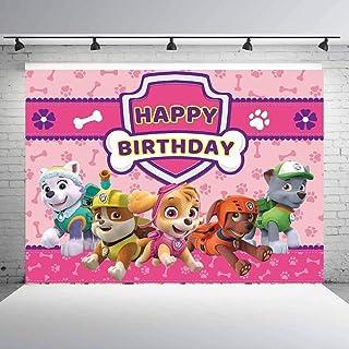 Paw Patrol 狗狗巡逻队背景布女孩生日快乐派对用品装饰摄影背景装饰横幅儿童工作室展台道具