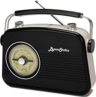 Byron Statics Radios 便携式 Am FM 模拟大型旋转表盘旋转灵敏度和音频外部金属天线旋钮开关可拆卸电源插头或带耳机插头的 1.5V AA 电池 黑色