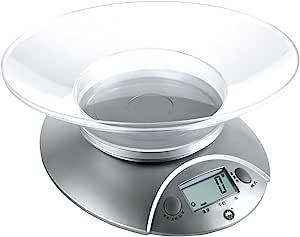 香山EK3550电子厨房秤 烘焙称 食物秤 称食品 精准 (银色经典款 带托盘)
