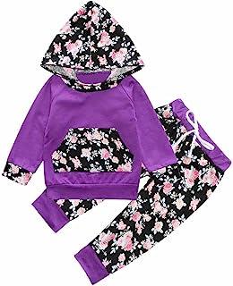 女婴紫色花卉长袖连帽衫口袋上衣运动服裤子套装