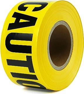 警告胶带 3 英寸 x 330 英寸 黄色和黑色高能见度不粘性 抗撕裂 *警告 路障带 装饰主题 派对警告带 非常适合危险/危险区域(2 件装)
