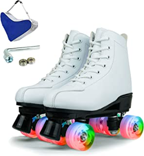 Detigsia 女士户外溜冰鞋,女式高帮 PU 皮革溜冰鞋,闪亮 4 轮溜冰鞋,适合女孩,带鞋袋和配件