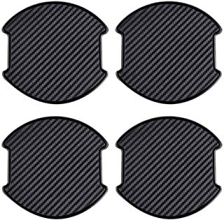 4 件通用 3D 碳纤维聚氨酯车门把手油漆防刮贴纸汽车门把手杯保护垫(大号)