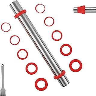 Sapid 16 英寸(约 40.6 厘米)擀面杖带可拆卸厚度环,不粘可调节不锈钢面团滚筒,带测量,易于清洁糕点擀面杖,适用于馅饼、饼干、披萨(红色)