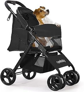 宠物手推车适用于猫狗 - 4 轮可折叠旅行轻质动物装备马车适用于小型中型犬和猫兔带储物篮(黑色)