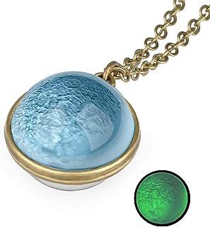 男女皆宜的夜灯发光双面行星图案星云吊坠项链圆顶透明釉玻璃球照片在黑暗中发光复古手工彩色玻璃球项链礼品