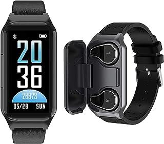 智能手表耳塞 2 合 1 TWS 耳塞带健身追踪器手表 防水手环带计步卡路里*追踪器 心率*监测 运动耳机 适用于 iPhone Android 手机