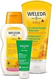 Weleda 哺乳动物和婴儿必需品 3 件套:两合一金盏花洗发水和沐浴露,金盏花身体乳和皮肤食品