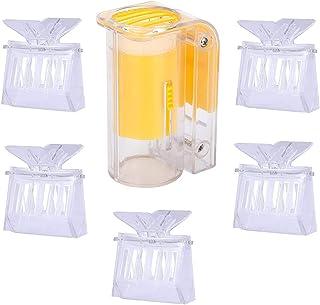 E-lishine 5 件塑料养蜂皇后夹带女王蜜蜂标记瓶透明捕蜂器/笼子用于养蜂人标记工具