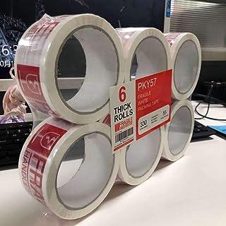 重型包装带,易碎包装带,专为搬运箱、运输、办公室和存储而设计,商业级 2.7 密耳厚,60 码长,总计 360 码