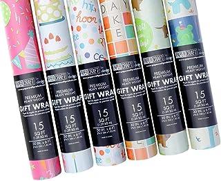 OCD Bargain 6 种不同设计生日派对礼品包装纸 - 1.8 米 X 76.2 厘米卷 - 适合儿童和成人