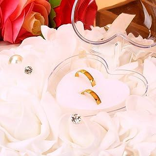 Tyenaza 戒指枕,结婚戒指枕,芽婚礼口袋戒指枕垫轴承,白色蝴蝶结环轴承枕头套