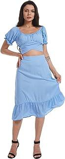 LYANER 女式 2 件套服装花卉自结露脐上衣和中长款裙套装
