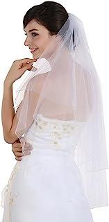 SAMKY 2T 2 层 AB 水晶串珠边缘新娘婚礼面纱