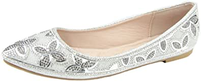 Bella Marie Women's Floral Rhinestone Beaded Slip On Ballet Flat