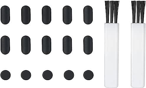 ProCase 防尘塞适用于 iPhone X、8 Plus、8、7 Plus、7、6s Plus [15 件装] - iPhone iPad iPods 硅胶低调端口塞盖套件防尘盖(2 端口清洁刷)- 黑色