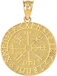 认证 10k 黄金维京人奥丁符号符文护身符彩绘素食指南针吊坠