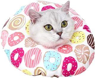 MJEMS 宠物康复 E 领锥体猫图案柔软棉质防水颈宠物锥形保护猫可调节紧固件项圈适用于*后的小狗猫和小狗,柔软边缘适用于小猫和猫咪,S 码