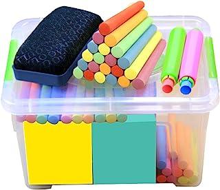 Yuehuam 120 支 人行道粉笔套装 带便携盒 & 黑板橡皮擦可水洗彩色粉笔 儿童户外趣味粉笔画玩具套装